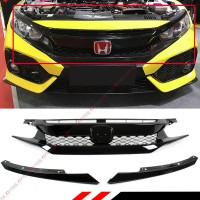 16-18 HONDA CIVIC 10TH GEN FK8 TYPE-R STYLE GLOSS BLK MESH FRONT HOOD GRILLE