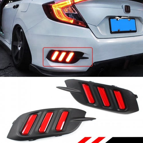 Honda Civic Rear Bumper Reflector Red Lens Led Strip Brake