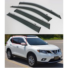 CLIP-ON TYPE SMOKE WINDOW VISOR RAIN GUARD W/ CHROME TRIM FOR 2014-2017 NISSAN ROGUE S SV